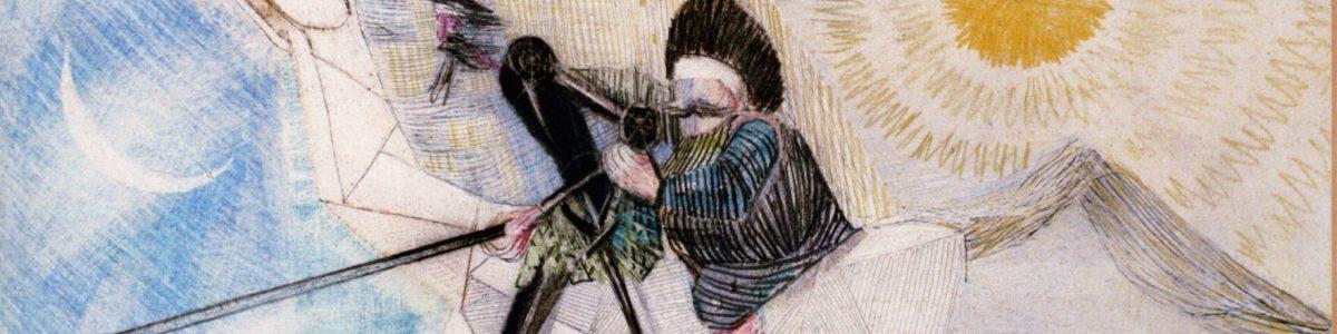 D. QUIXOTE A CAVALO COM LANÇA E ESPADA Lápis de cor:papel, 1956. 42 x 16 cm